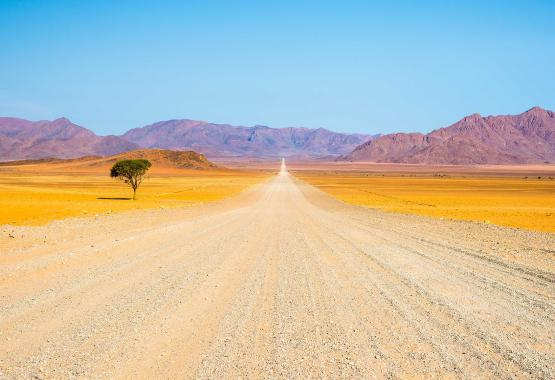 Africa time - an image of a road and a tree in an African desert landscape on a mountainous backdrop