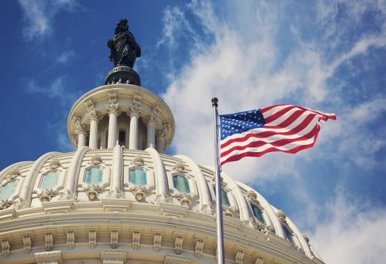 Looking up at the capitol building roof with an american flag flying next to it, with a blue sky backdrop